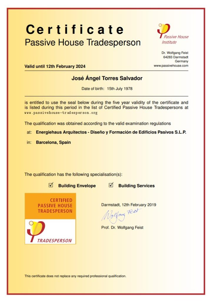 certificado passive house tradesperson